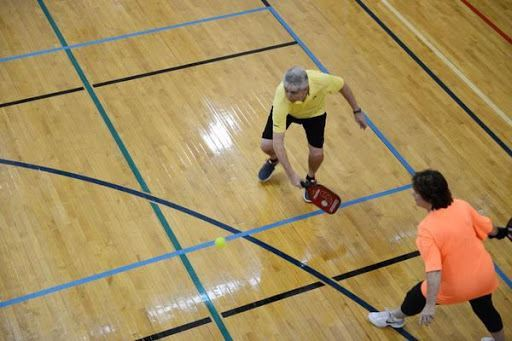 Duo playing pickleball